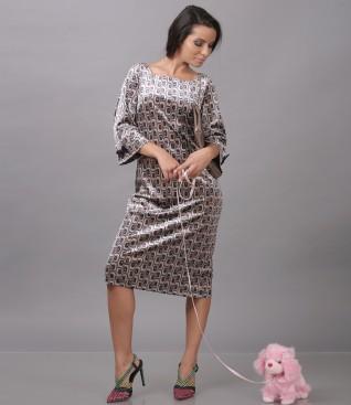 Velvet dress with geometric print