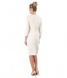 Office women suit with jacket with trim and tapered skirt