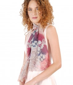 Viscose scarf with floral print