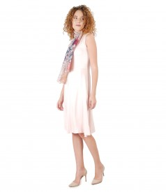 Elegant dress with viscose scarf with floral print