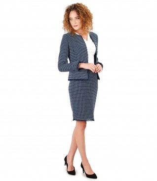 Office women suit with jacket and skirt with multi-color loops