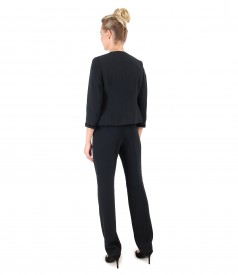 Office women suit with jacket with trim and pants with stripe