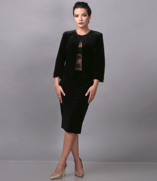 Elegant outfit with bolero and elastic velvet skirt