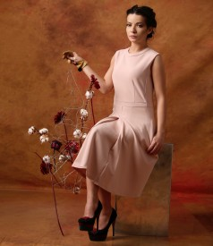 Flaring dress made of elastic fabric