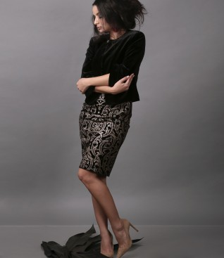 Elegant outfit with printed velvet dress and bolero