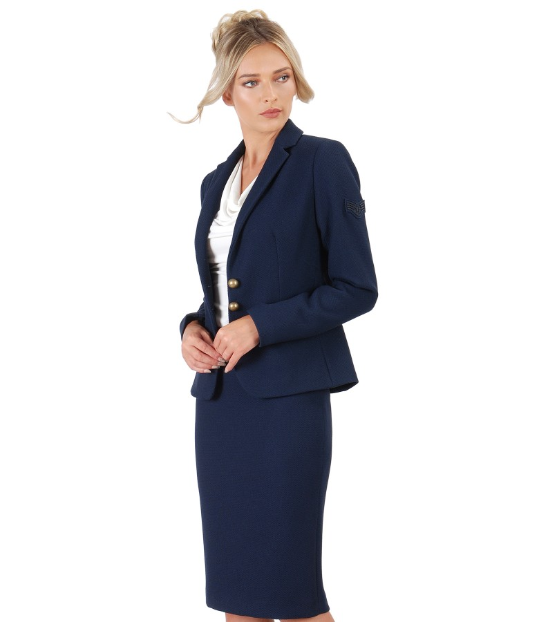 Office women suit with jacket and textured fabric skirt