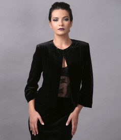 Elegant velvet bolero embellished with crystals