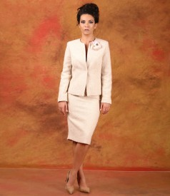 Office women suit with jacket and skirt with wool and alpaca loops