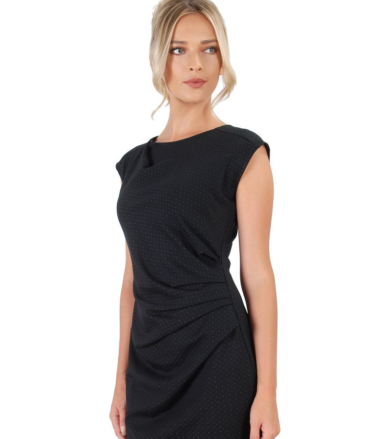 Dress with elastic jersey folds