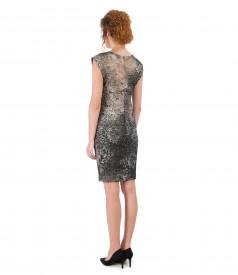Elastic brocade dress with gold metallic thread