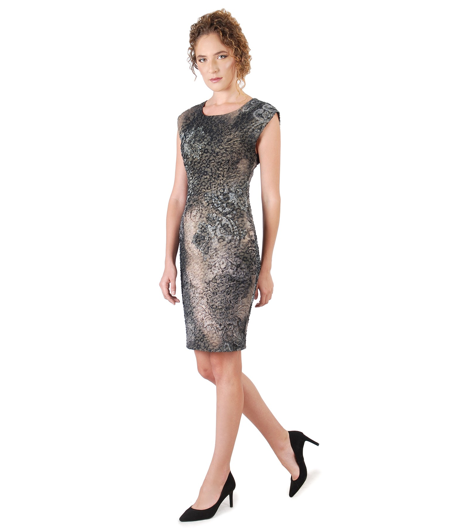 Elastic Brocade Dress With Gold Metallic Thread Print Yokko