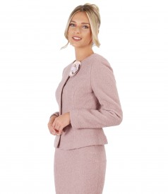 Office women suit with jacket and skirt made of loops with wool and alpaca