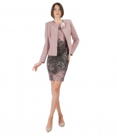 Elegant outfit with jacket with detachable brooch and elastic brocade dress
