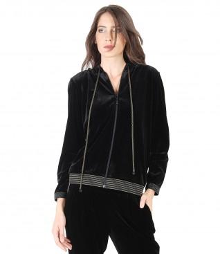 Black elastic velvet parka