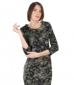 Elegant jersey blouse with floral print