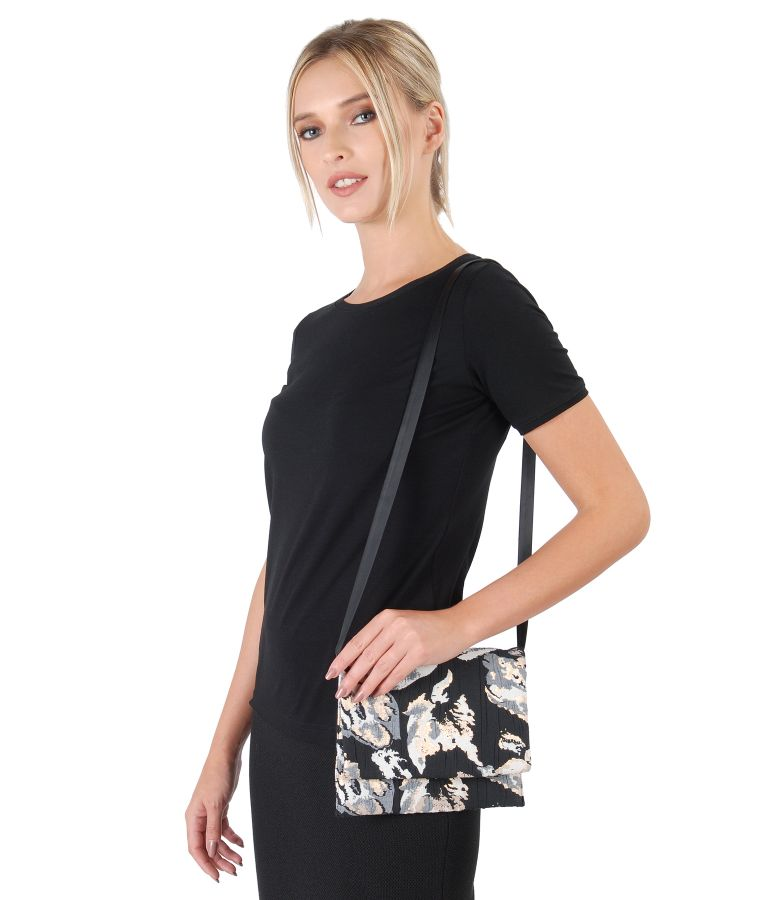 Brocade clutch bag with gold thread
