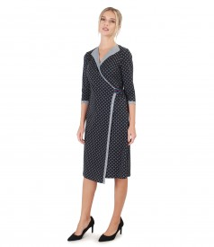 Elastic jersey dress with geometric print