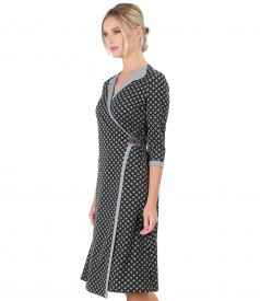 Elastic jersey dress with geometric print