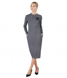 Elegant dress made of fabric with viscose