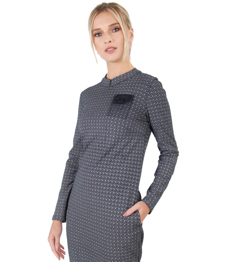 Elegant dress made of fabric with viscose
