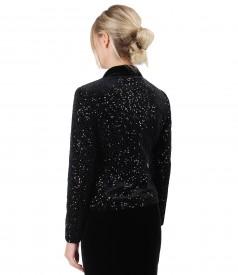 Elegant velvet jacket with sequins