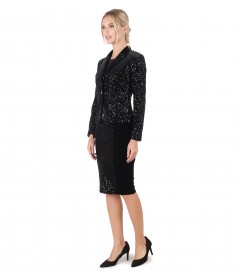 Evening outfit with dress and velvet jacket with sequins