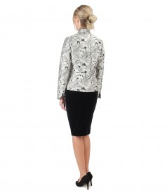 Elegant outfit with brocade jacket and velvet skirt