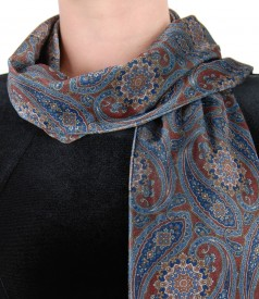 Velvet scarf with floral print