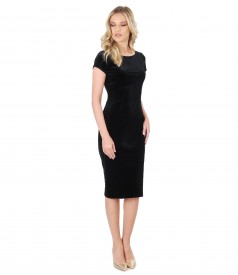 Black elastic velvet short evening dress