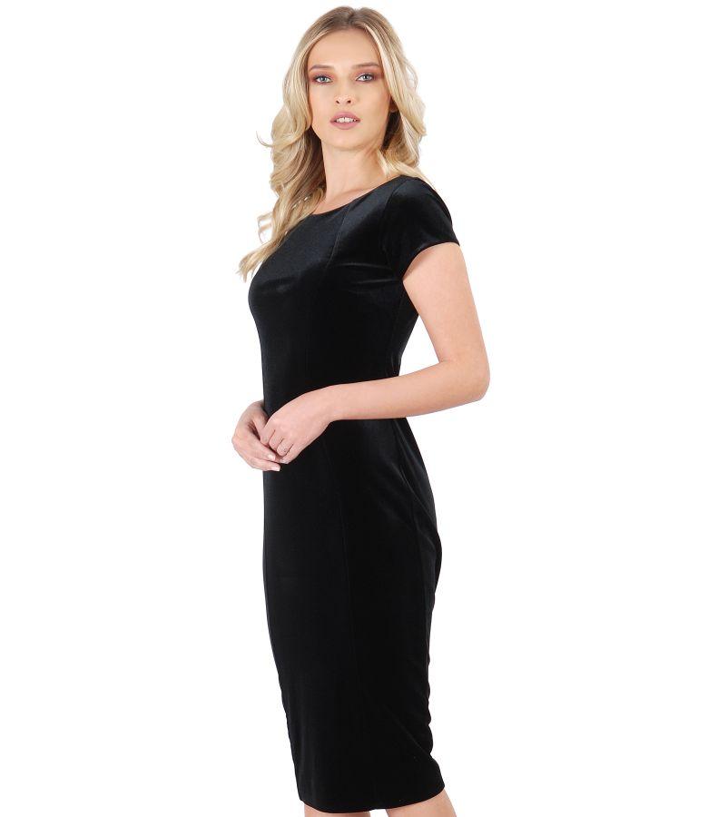 Black elastic velvet short evening dress