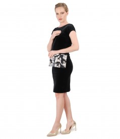 Evening dress made of black elastic velvet with brocade purse with golden thread