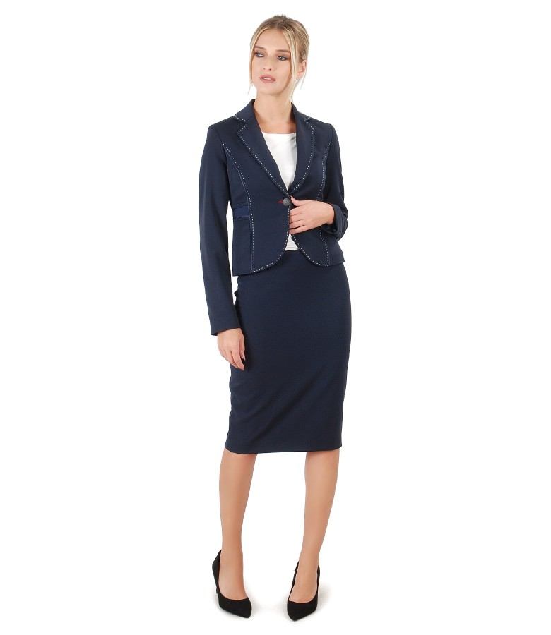Office women suit with jacket and fabric with viscose skirt
