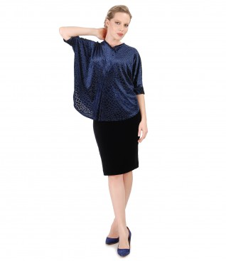 Black elastic velvet skirt with butterfly blouse