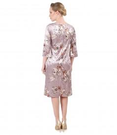 Velvet dress with floral print
