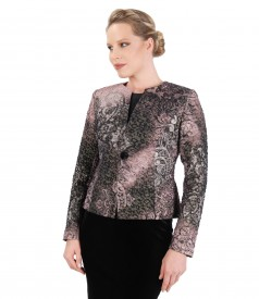 Elegant jacket made of elastic brocade with gold metallic thread and Swarovski buttton