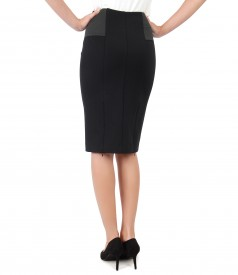 Tapered skirt made of elastic jersey with elastic trim