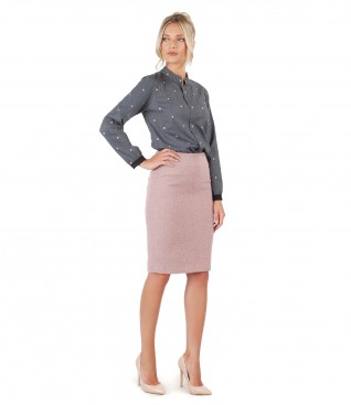 Blouse with long sleeves and tapered skirt with wool and alpaca