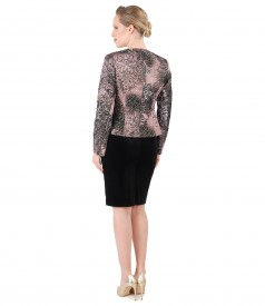 Elegant outfit with velvet dress and jacket embroidered with metallic thread