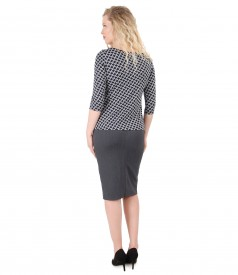 Jersey blouse with stripes print and tapered skirt