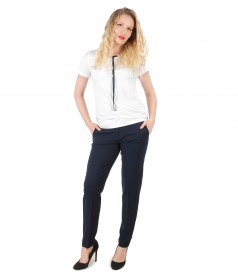 Elastic fabric pants with blouse with bow on decolletage