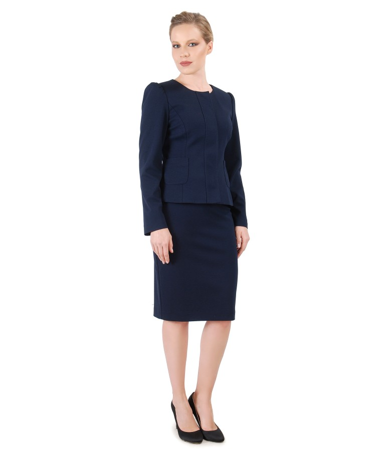 Office women suit with jacket and elastic jersey skirt