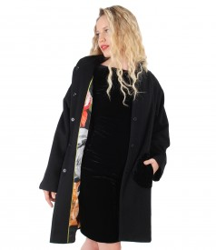 Wool and cashmere jacket doubled with printed satin