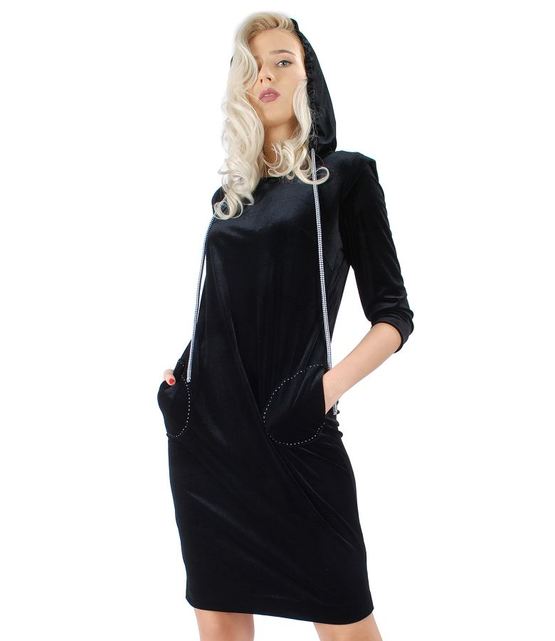 Dress with hood made of black elastic velvet