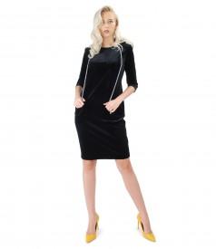 Dress with hood made of black elastic velvet