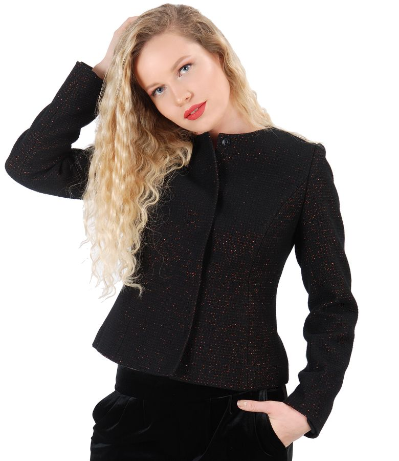 Wool jacket with copper thread