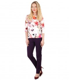 Jersey blouse with floral print and ankle pants