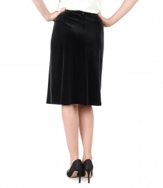 Flaring skirt made of elastic velvet