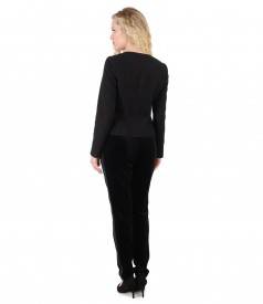 Elegant outfit with velvet pants and jacket with copper thread
