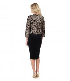Elegant outfit with bolero and elastic velvet dress