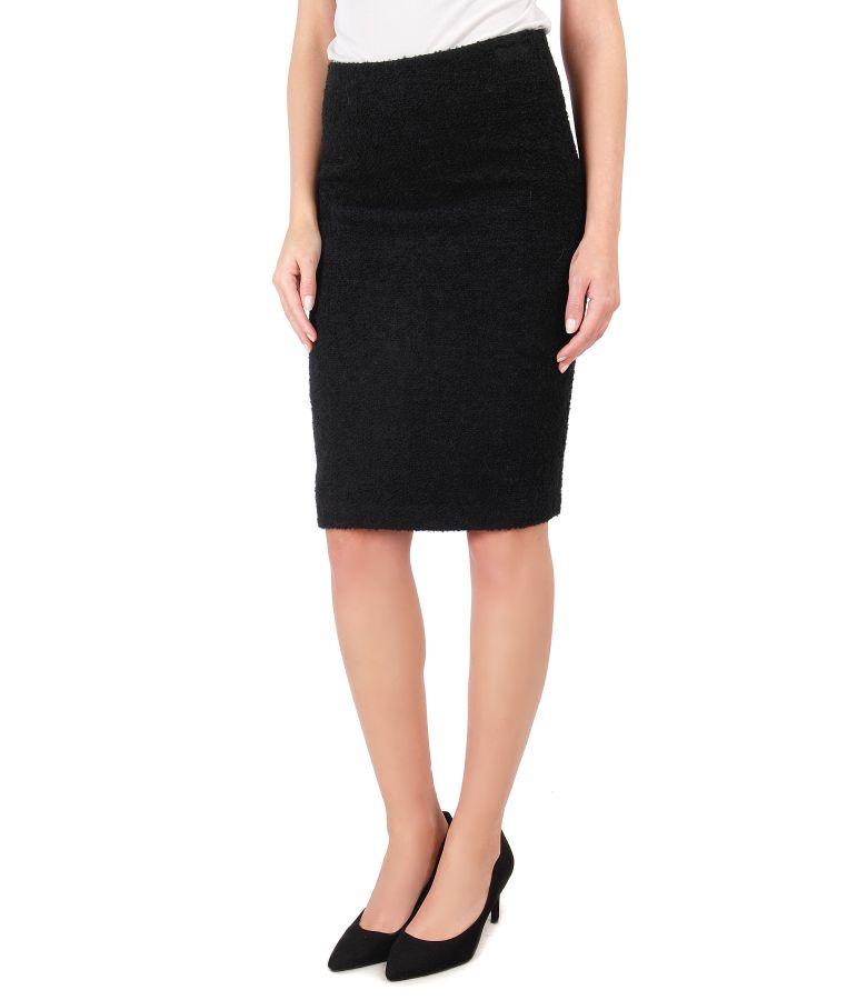 Black skirt from wool and alpaca loops